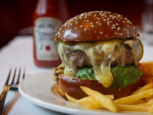 Balthazar, a restaurant in Covent Garden, serves cheeseburgers for lunch or dinner